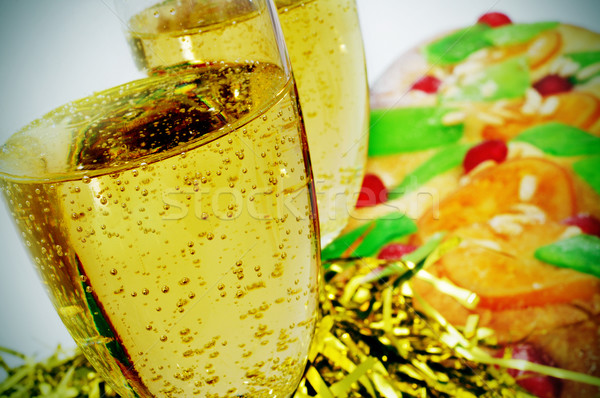 champagne and coca de Sant Joan, typical sweet flat cake from Ca Stock photo © nito