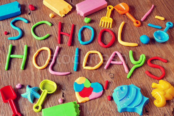 text school holidays made from modelling clay Stock photo © nito