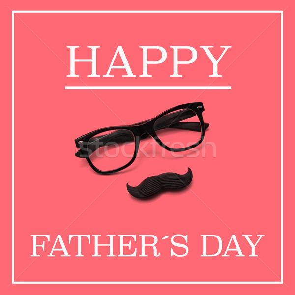 eyeglasses and moustache, and the text happy fathers day Stock photo © nito