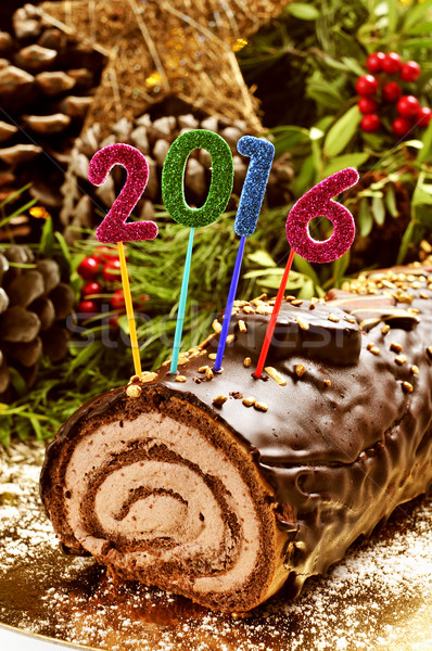 2016 yule log cake Stock photo © nito