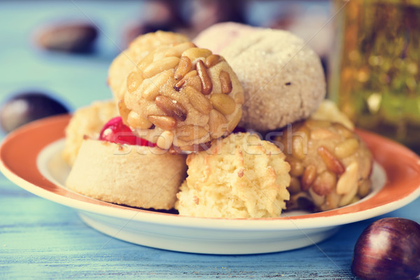 chestnuts and panellets, typical pastries of Catalonia, Spain, e Stock photo © nito