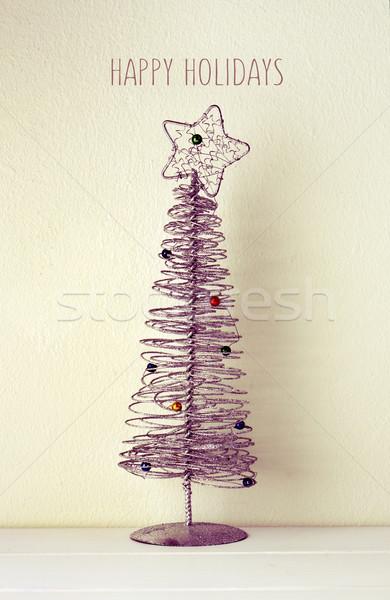 Karácsonyfa szöveg boldog ünnepek egyszerűsített drót Stock fotó © nito