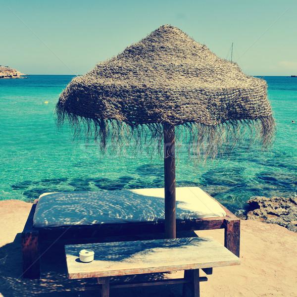 sunlounger and umbrella in Ibiza, Spain Stock photo © nito