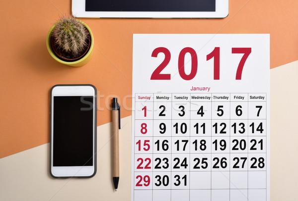 日曆 射擊 筆 智能手機 仙人掌 商業照片 © nito