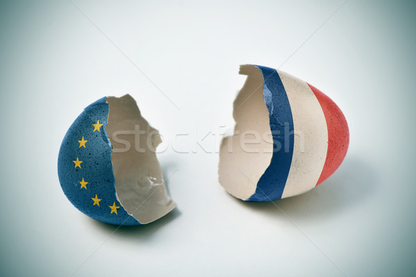 cracked eggshell with European and French flags Stock photo © nito