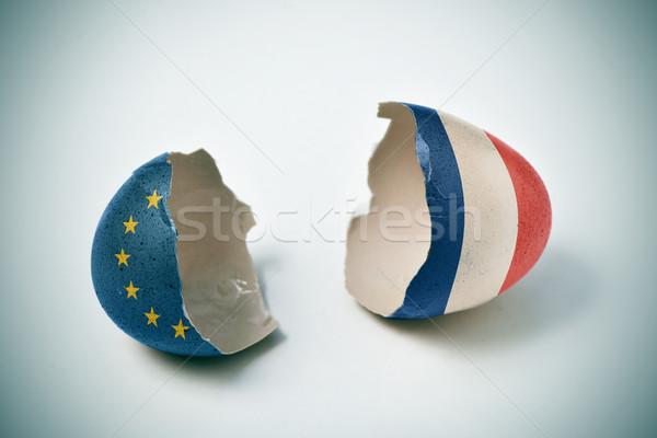 Stockfoto: Gebarsten · eierschaal · europese · frans · vlaggen · twee