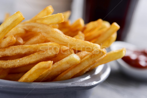 appetizing french fries in a metal basket Stock photo © nito