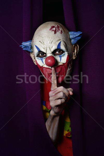 scary evil clown asking for silence Stock photo © nito