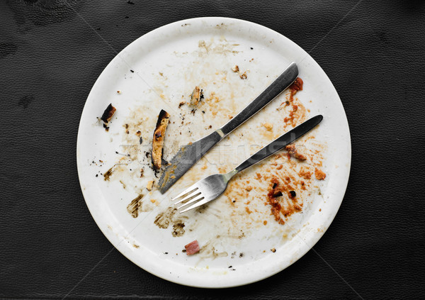 remains of a pizza in a plate Stock photo © nito