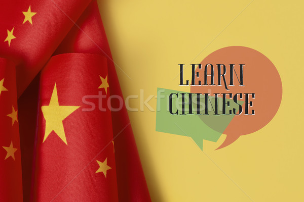 flags of China and text learn Chinese Stock photo © nito