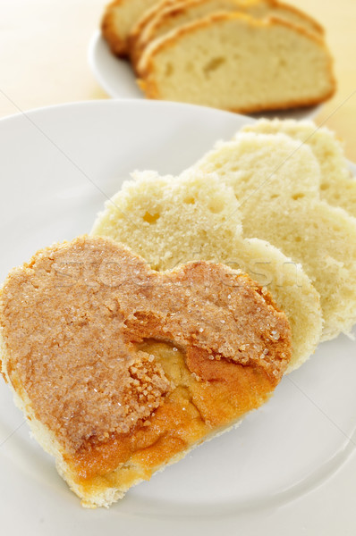 heart-shaped sponge cake Stock photo © nito