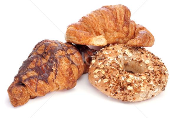 クロワッサン ベーグル 白 チョコレート 背景 パン ストックフォト © nito