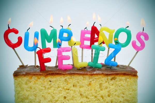 cumpleanos feliz, happy birthday written in spanish Stock photo © nito
