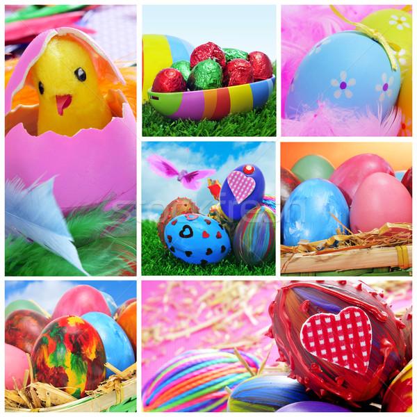 Stock fotó: Húsvéti · tojások · kollázs · különböző · képek · húsvét · felirat