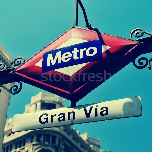 sign of Gran Via metro station in Madrid, Spain, with a retro ef Stock photo © nito