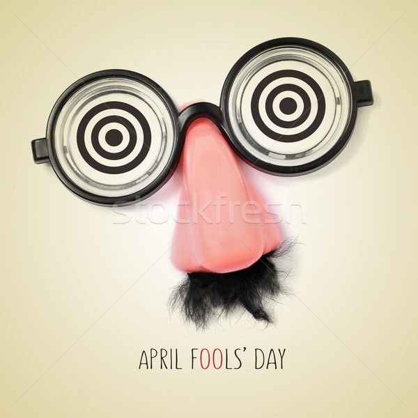 fake eyeglasses and text april fools day, with a retro effect Stock photo © nito