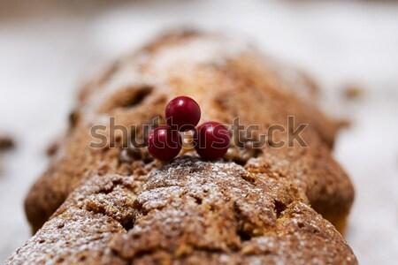 Gyümölcstorta karácsony idő közelkép porcukor boldog Stock fotó © nito