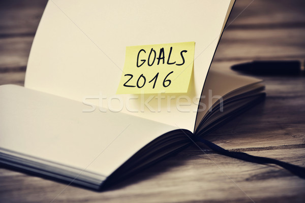 notepad with the text goals 2016, filtered Stock photo © nito