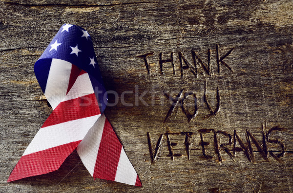 text thank you veterans and the flag of the US Stock photo © nito