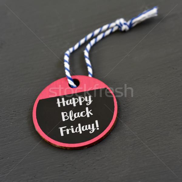 Texto feliz black friday papel etiqueta escrito Foto stock © nito