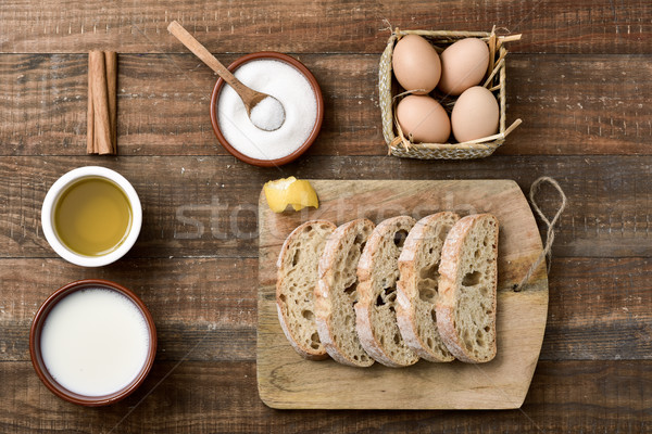 ingredients to prepare spanish torrijas, eaten in Easter Stock photo © nito
