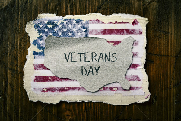 text veterans day and flag of USA Stock photo © nito