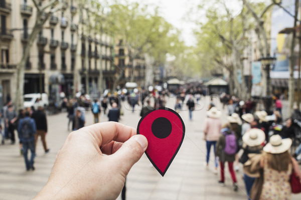 man with a red marker in Las Ramblas, Barcelona
