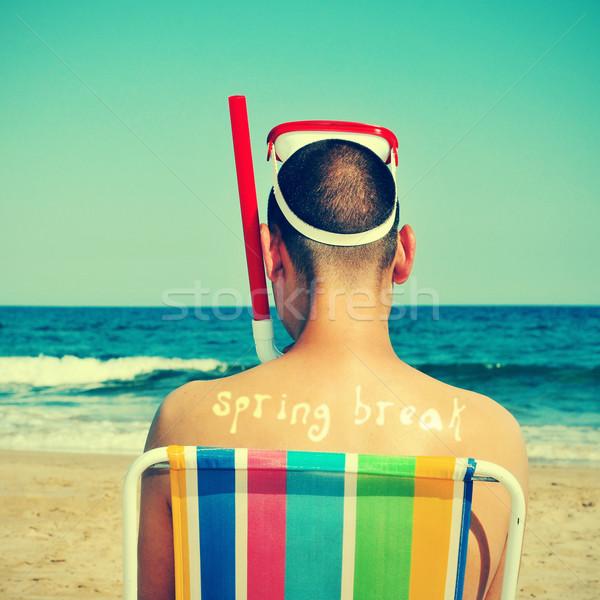 Tavaszi szünet férfi visel búvárkodik maszk búvárpipa Stock fotó © nito