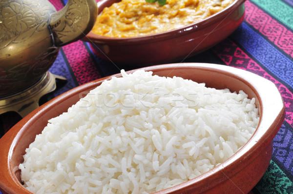 Basmati riso strigliare primo piano ciotola set Foto d'archivio © nito