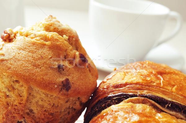 Café chocolate croissant bolinho Foto stock © nito