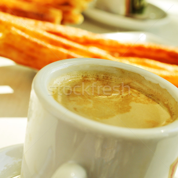 cafe y porras, coffee and thick churros, the typical breakfast i Stock photo © nito