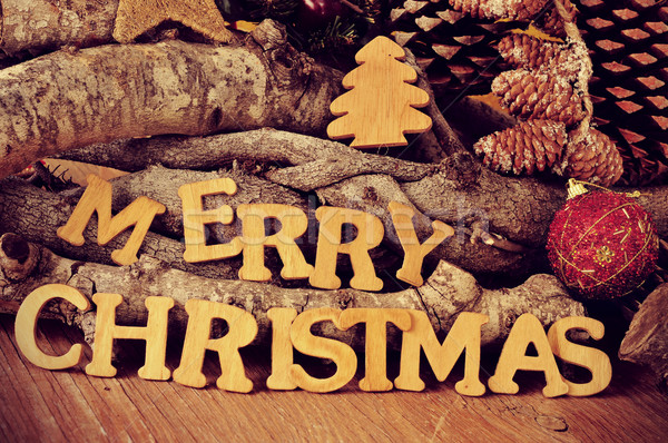 wooden letters forming the sentence merry christmas Stock photo © nito