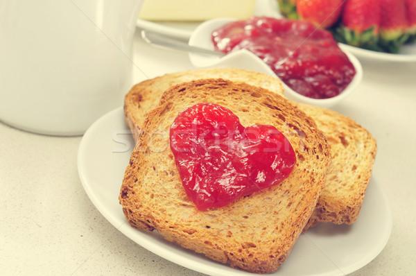heart of jam on a toast Stock photo © nito