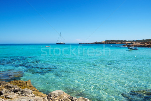 Cala Conta beach in San Antonio, Ibiza Island, Spain Stock photo © nito