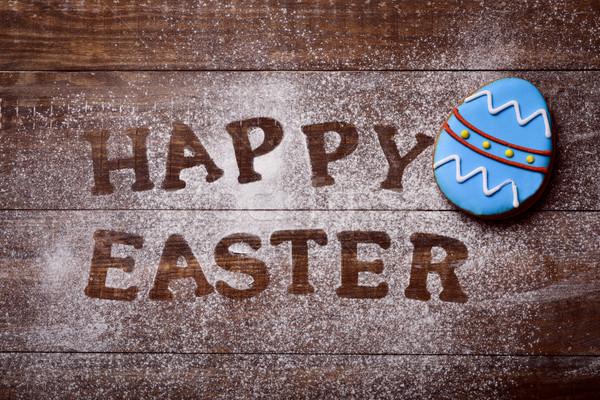 Texto decorado ovo tiro mesa de madeira Foto stock © nito