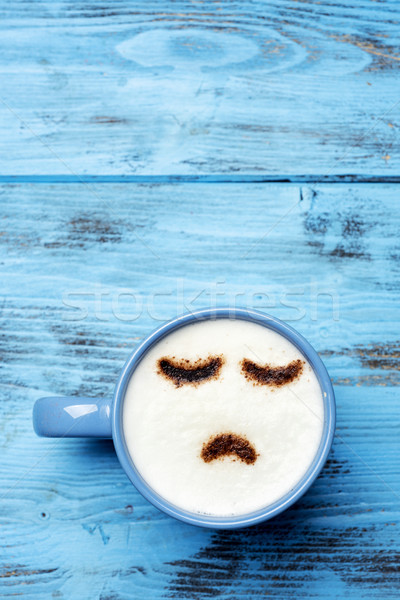 cup of cappuccino with a sad face Stock photo © nito