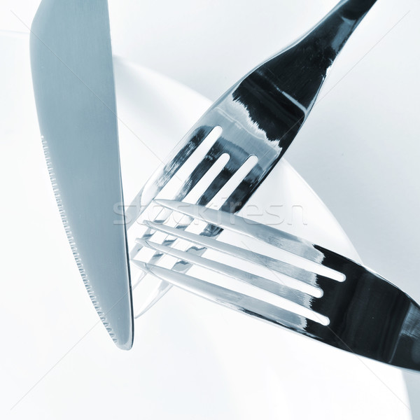 plate, knife and forks on a set table Stock photo © nito