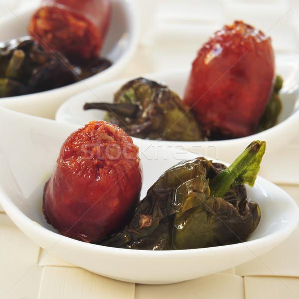 Spanyol sült chorizo paprikák felszolgált tapas Stock fotó © nito