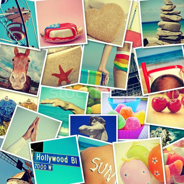 Fotos diferente objetos tiro mosaico parede Foto stock © nito