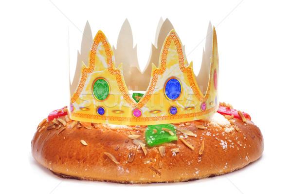 Spanyol három királyok torta háttér korona ünneplés Stock fotó © nito