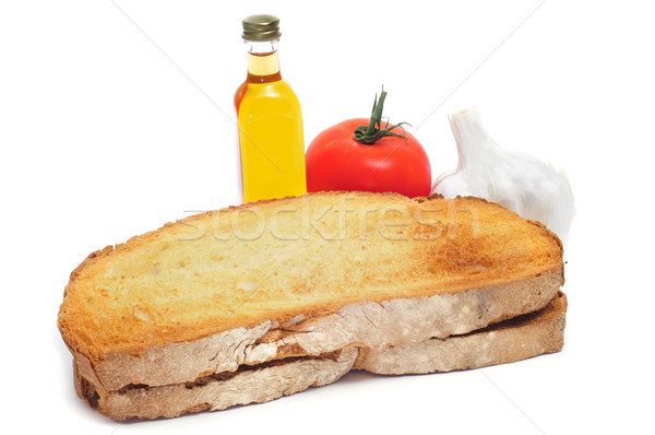 ingredients for pa amb tomaquet, bread with tomato, typical of C Stock photo © nito