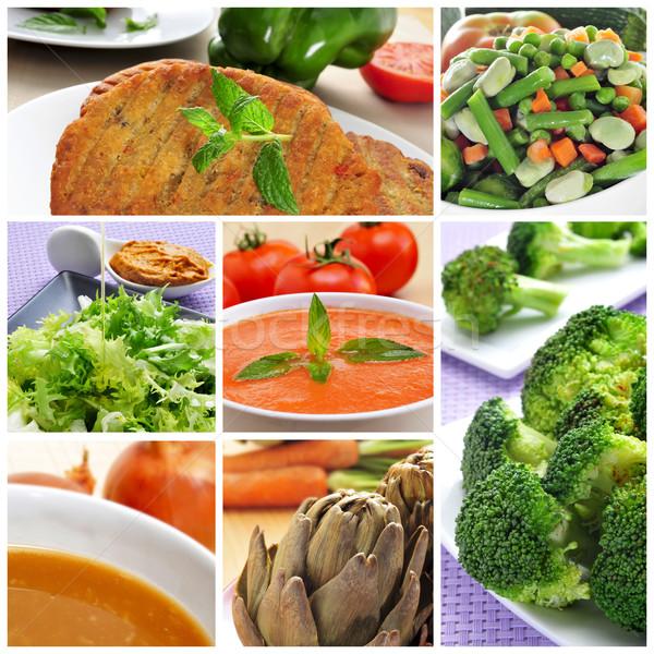 Vegan ételek kollázs különböző hagyma leves Stock fotó © nito