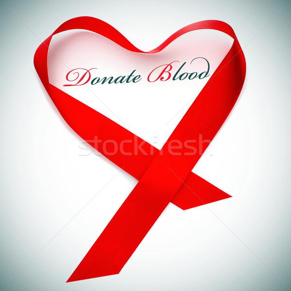 Adományoz vér vörös szalag orvosi szív gyógyszer Stock fotó © nito