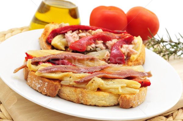 espardenya, typical sandwich in Catalonia, Spain, with grilled v Stock photo © nito