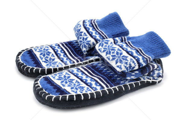 Pantoufle chaussettes paire blanche mode maison Photo stock © nito
