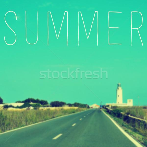 Wort Sommer ruhig Straße führend Leuchtturm Stock foto © nito