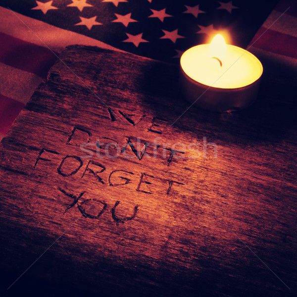 text we do not forget you carved on wood, filtered Stock photo © nito