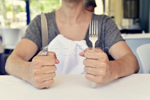 Junger Mann warten Essen jungen Stock foto © nito