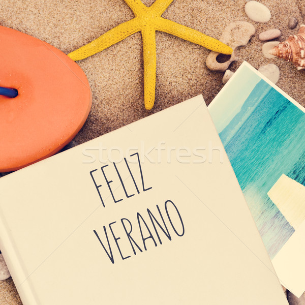 text feliz verano, happy summer in spanish Stock photo © nito