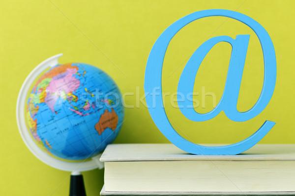 globe, books and at sign Stock photo © nito